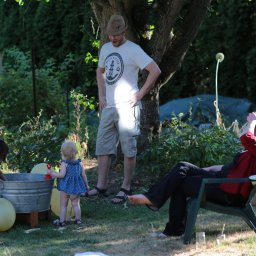 Familiy playing in the garden