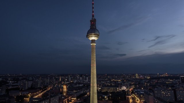 Alexanderplatz, one of the biggest and most frequented squares of Berlin, at night with the Fernsehturm in the center