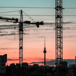 A construction site in Berlin with view on the Berliner Fernsehturm