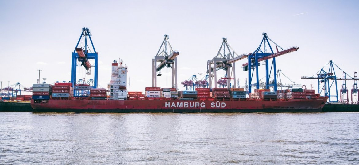 A big container ship in the port of Hamburg