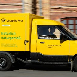 The so-called StreetScooter, an electric van for postal deliveries by German postal service Deutsche Post DHL Group