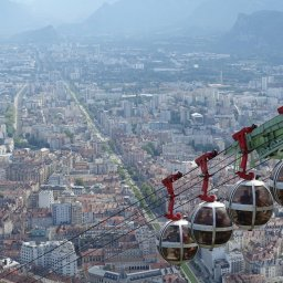 Round cable cars at La Bastille on Mont Rachais, a mountain near the city of Grenoble in the French Alps